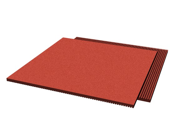 Rubber pavement 1000x1000x25 mm (raster 15 mm, red)