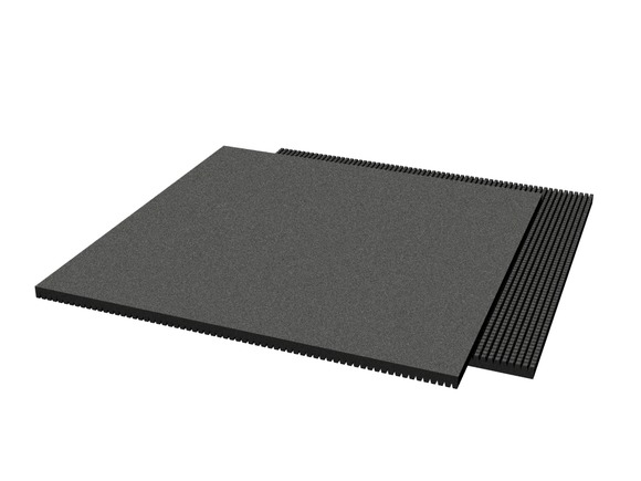 Rubber pavement 1000x1000x30 mm (raster 15 mm, black)