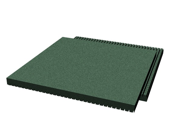 Rubber pavement 500x500x30 mm (raster 15 mm, green)