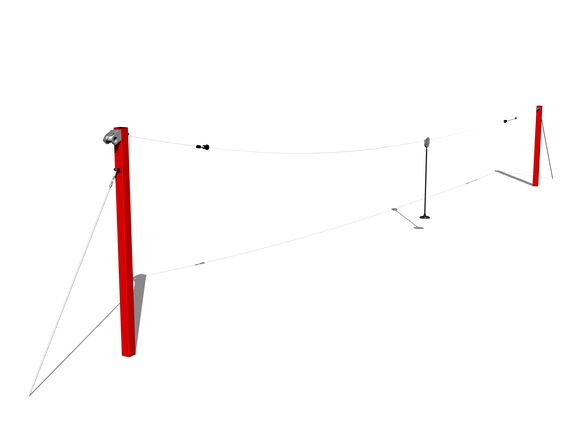 Single post cableway LD010KR - Red