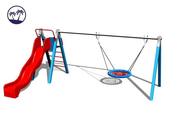 Chain Swing Nest with slide RH180KB-Q - Blue (1,5 m) (Coastal region)