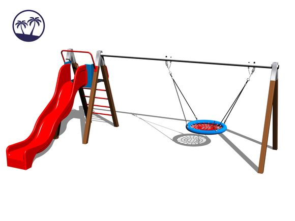 Chain Swing Nest with slide RH180KW-Q - Brown (1,5 m) (Coastal region)